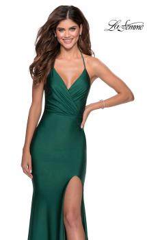Picture of: Long Chiffon Prom Dress with Unique Lace Up Back in Emerald, Style 28552, Main Picture