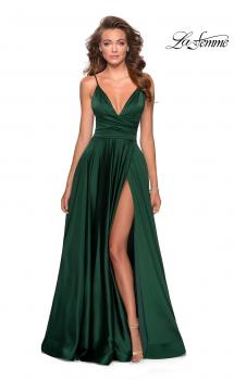 Picture of: Long Satin Dress with Side Slit and V Shaped Back in Emerald, Style: 28607, Main Picture