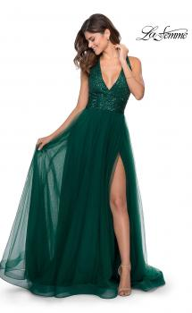Picture of: A-line Tulle Dress with Sequined Bodice and Pockets in Emerald, Style: 28908, Main Picture