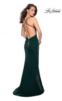 Picture of: Simple Jersey Prom Gown with Criss Cross Open Back in Forest Green, Style: 27179, Main Picture