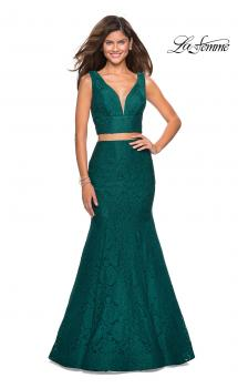 Picture of: Sweetheart Neckline Two Piece Long Lace Prom Dress in Forest Green, Style: 27262, Main Picture