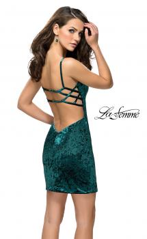 Picture of: Crushed Velvet Short Dress with Sweetheart Neckline in Forest Green, Style: 26636, Main Picture