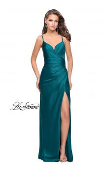 Picture of: Satin Slip Prom Dress with Strappy Back in Forest Green, Style: 25270, Main Picture