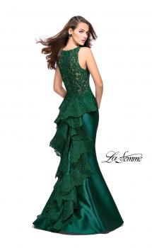 Picture of: Long Mermaid Gown with Lace Back and Ruffles in Forest Green, Style: 26217, Main Picture