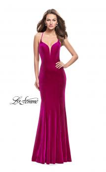 Picture of: Velvet Mermaid Style Prom Dress with Deep V Neckline in Fucshia, Style: 25174, Main Picture