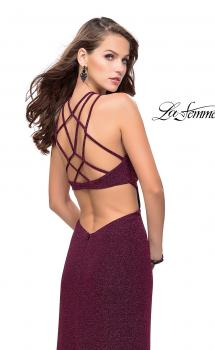 Picture of: Long Sparkly Dress with High Neckline and Side Slit in Fuschia, Style: 25346, Main Picture