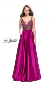 Picture of: Long Satin Dress with A Line Skirt and Beaded Top in Fuchsia, Style: 25348, Main Picture