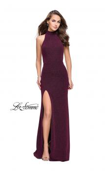 Picture of: Sparkly Jersey Long Dress with High Neckline and Front Slit in Fuchsia, Style: 25404, Main Picture