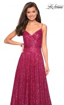 Picture of: sequin Empire Waist Prom Dress with V Back in Fuchsia, Style: 27747, Main Picture
