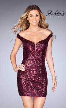 Picture of: Off the Shoulder Short Sequin Dress with Strappy Back in Garnet, Style: 25085, Main Picture