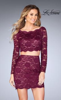 Picture of: Lace Two Piece Dress with Scalloped Neckline in Garnet, Style: 25301, Main Picture