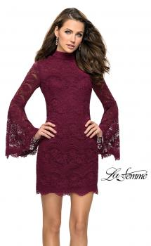 Picture of: Lace Bell Sleeve Homecoming Dress with High Neckline in Garnet, Style: 26668, Main Picture