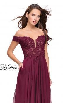 Picture of: Chiffon Prom Dress with Off the Shoulder Lace Top in Garnet, Style: 25129, Main Picture