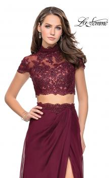 Picture of: Chiffon Two Piece Gown with Lace Top and Belt Detail in Garnet, Style: 25384, Main Picture