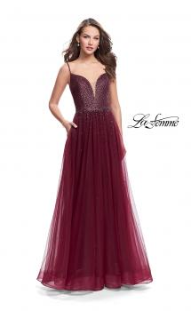 Picture of: A-line Dress with Rhinestones and Tulle Skirt in Garnet, Style: 25636, Main Picture