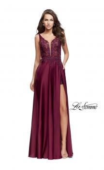 Picture of: Long Prom Dress with Beaded Lace Bodice and Open Back in Garnet, Style: 25645, Main Picture