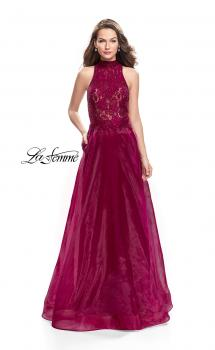 Picture of: A-line Prom Gown with Beaded Lace Bodice and Tulle in Garnet, Style: 25664, Main Picture