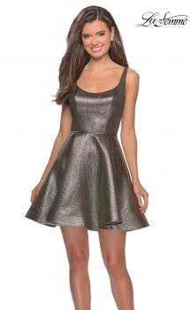 Picture of: Metallic Fit and Flare Short Homecoming Dress in Gold Black, Style: 28181, Main Picture