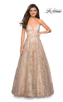 Picture of: Strapless A-Line Embroidered Prom Dress in Gold/Nude, Style: 27640, Main Picture