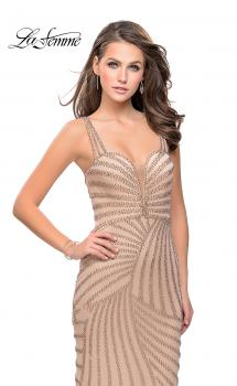 Picture of: Metallic Beaded Prom Dress with Sweetheart Neckline in Gold, Style: 25873, Main Picture