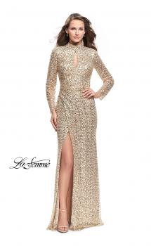 Picture of: Long Sleeve Sequin High Neck Prom Dress with Slit in Gold, Style: 26263, Main Picture
