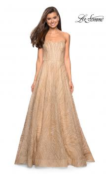 Picture of: Textured Lace Strapless Prom Dress in Gold, Style: 27776, Main Picture