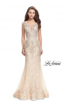 Picture of: Form Fitting Mermaid Lace Dress with Metallic Beading in Gold Nude, Style: 26125, Main Picture