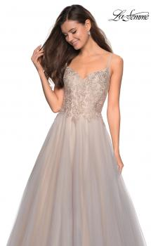 Picture of: Two Toned Long Tulle Gown with Embellished Bust, Style: 27674, Main Picture