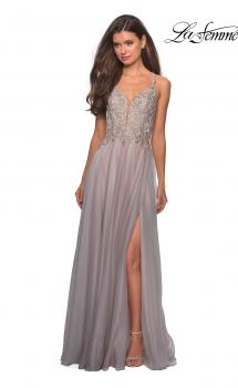 Picture of: Chiffon Long Dress with V Neck and Lace, Style: 27729, Main Picture