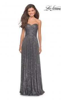 Picture of: Long Sequined Dress with Sweetheart Neckline in Gunmetal, Style: 27879, Main Picture