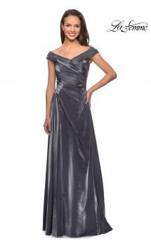 Picture of: Off the Shoulder Satin Gown with Ruching in Gunmetal, Style: 27846, Main Picture
