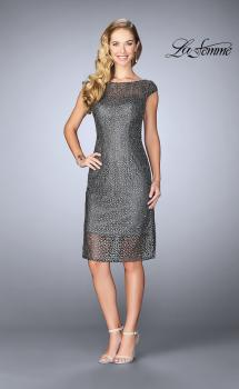 Picture of: Short Lace Dress with Sheer Top Neckline and Hem in Gunmetal, Style: 24905, Main Picture