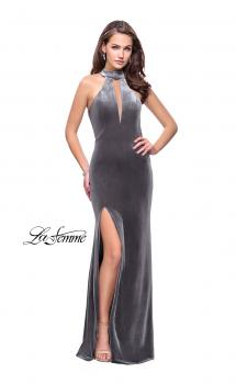 Picture of: Velvet Prom Dress with Open Back and Deep V Cut Out, Style: 25292, Main Picture