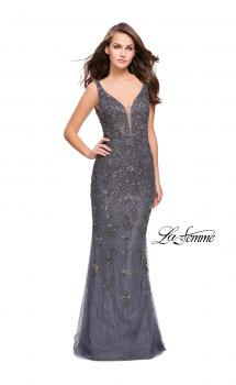 Picture of: Form Fitting Prom Dress with Metallic Beading and V Neck in Gunmetal, Style: 26054, Main Picture