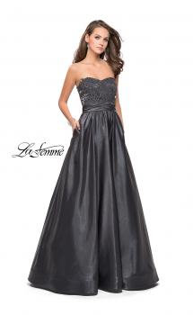 Picture of: Metallic Lace Satin A-line Gown with Pockets in Gunmetal, Style: 26151, Main Picture