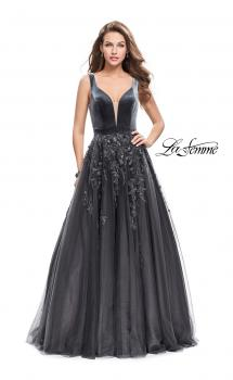Picture of: A-line Prom Gown with Tulle Skirt and Velvet Bodice in Gunmetal, Style: 26382, Main Picture