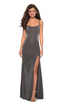 Picture of: Simple Long Prom Dress with Strappy Beaded Back in Gunmetal, Style: 27089, Main Picture