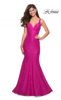 Picture of: Stretch Lace Long Dress with Open Strappy Back in Hot Pink, Style: 27623, Main Picture