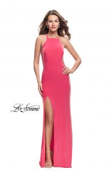 Picture of: Long Jersey Prom Dress with Strappy Open Back in Hot Coral, Style: 25736, Main Picture