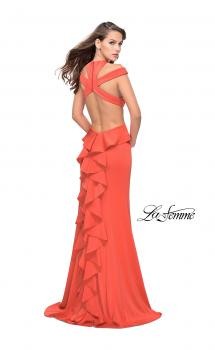 Picture of: Long Jersey Prom Dress with Ruffle Detail and Slit in Hot Coral, Style: 25971, Main Picture