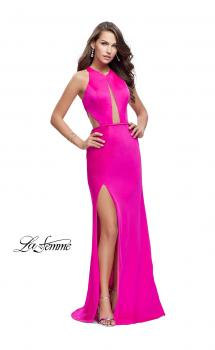 Picture of: Satin Prom Gown with High Neck and Side Cut Outs in Hot Pink, Style: 26005, Main Picture