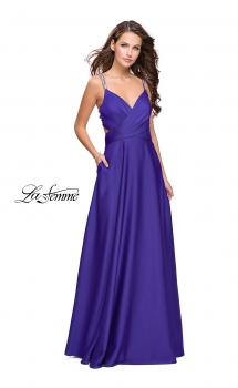 Picture of: Satin A-line Prom Dress with Beading and an Open Back in Indigo, Style: 25611, Main Picture