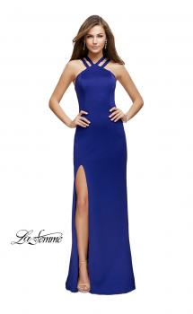 Picture of: High Neck Prom Dress with Halter Double Strap Detail in Indigo, Style: 25883, Main Picture
