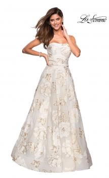 Picture of: Strapless Floral A Line Ball Gown with Pockets in Ivory Gold, Style: 27207, Main Picture