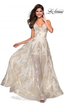 Picture of: Sheer Floral Silk Burnout Prom Dress with Shorts in Ivory gold, Style: 27547, Main Picture