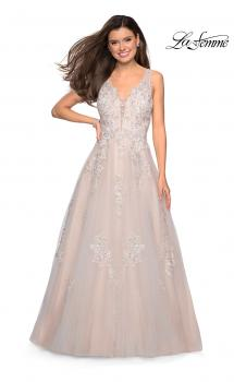 Picture of: A-Line Ball Gown with Sparkling Floral Appliques in Ivory Nude, Style: 27727, Main Picture