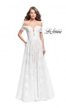 Picture of: Off the Shoulder beaded Lace A-line Prom Dress in Ivory, Style: 26254, Main Picture