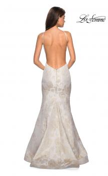Picture of: Long Floral Mermaid Prom Dress with High Neckline in Ivory/Silver, Style: 27796, Main Picture