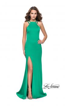 Picture of: Classic Long Evening Gown with Beaded Straps and Slit in Jade, Style: 25540, Main Picture
