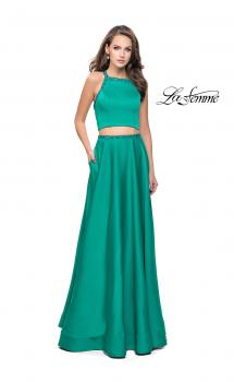 Picture of: Satin Two Piece Prom Dress with Beaded Trim in Jade, Style: 25978, Main Picture